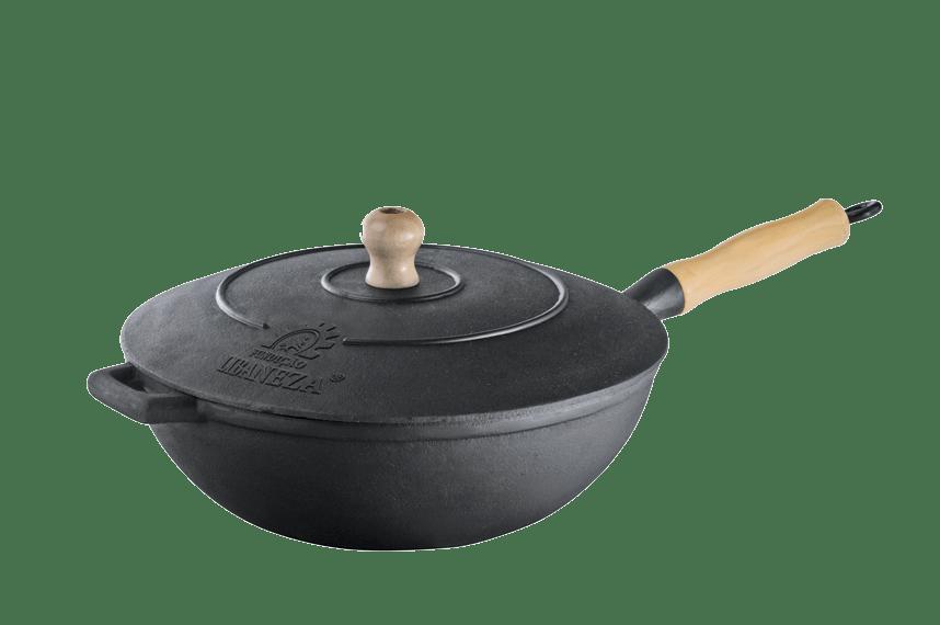 panela frigideira wok de ferro fundido, tacho chines com tampa de ferro 28 cm, frigideira conica Lib