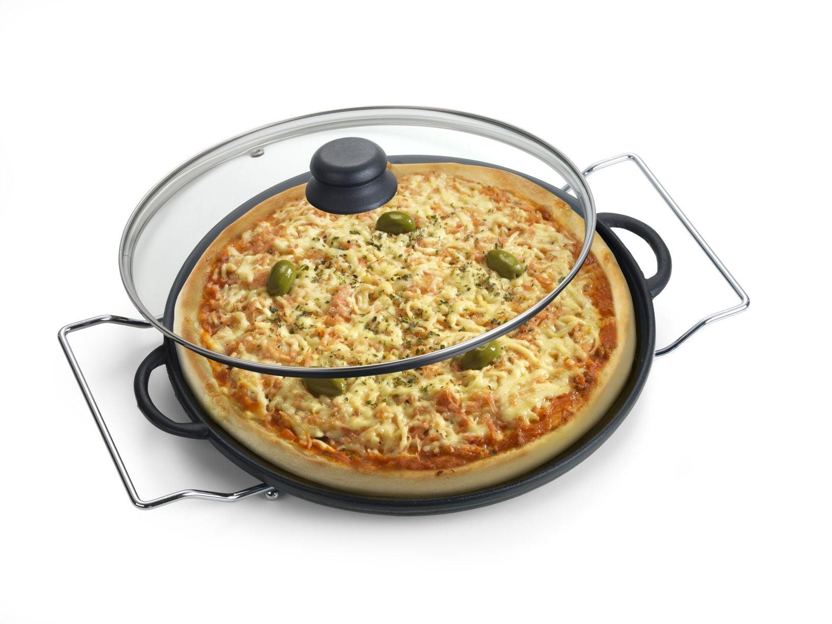forma de pizza ferro, pedra assar pizza, pizza na pedra, assadeira de pizza de ferro 30 cm