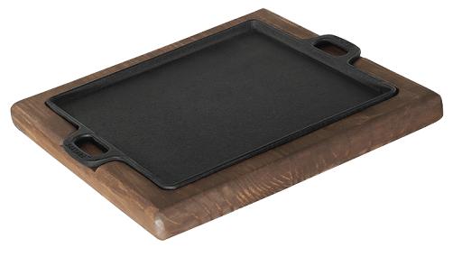 chapa de ferro fundido com suporte em madeira para porção de carne quadrada, petisco 24x24 cm mineira
