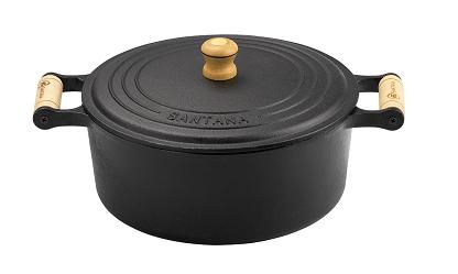 panela de ferro fundido caçarola com tampa de ferro 1,7 litro 18 cm de diametro santana