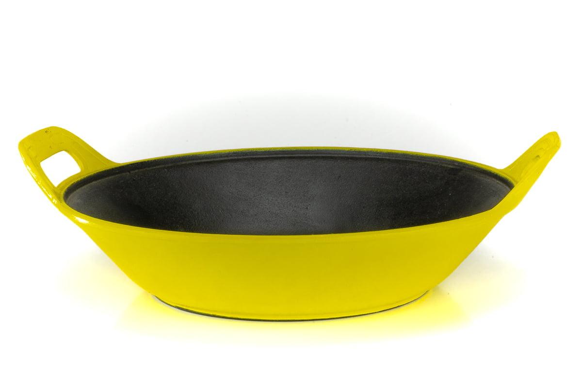 panela de ferro fundido amarela para risoto, risotto, paelleira de ferro, frigideira e assadeira 2,5 litros