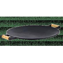 chapa disco arado com alça de madeira 35 cm diam, fundiçao libaneza, chapa redonda grande, picanheira, panela mineira