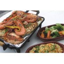 rechaud de ferro fundido 35x25 cm, chapa para picanha com fogareiro a alcool, panela mineira, libaneza, churrasqueira, porção