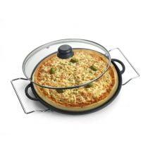 Forma de Pizza 30 cm tampa de vidro sem suporte
