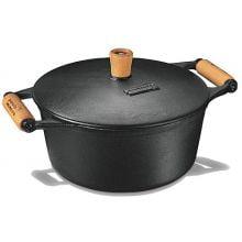 Caçarola alça de madeira tampa de ferro 4,5 litros 27 cm diametro