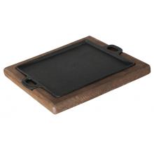Chapa Petisco quadrada com suporte de madeira 24 x 24 cm
