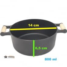panela de ferro fundido caçarola com tampa de ferro 0,8 litro 14 cm de diametro santana
