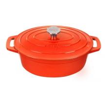 Caçarola Oval de Ferro Fundido Esmaltado - 28cm – Cor Orange
