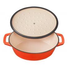 Panela caçarola oval de ferro fundido esmaltada stex orange 28 cm, le creuset