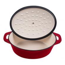 Panela caçarola oval de ferro fundido esmaltada stex vermelha 28 cm, le creuset