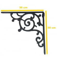 Cantoneira de ferro fundido, mão francesa, rustica, prateleira, suporte de ferro fundido, 30x30 cm